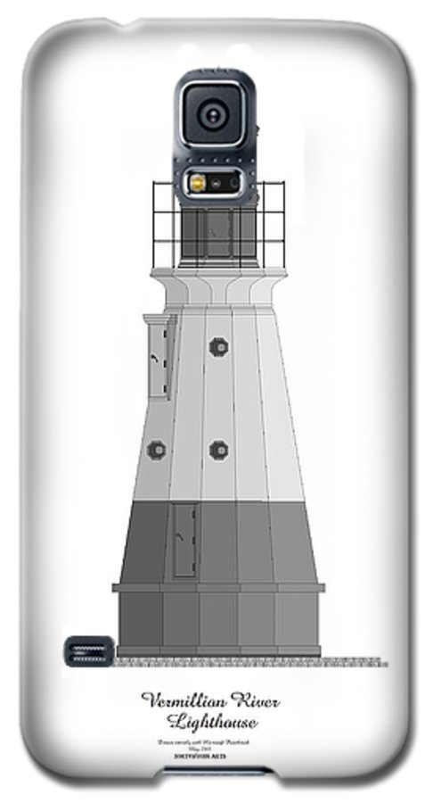Lighthouse Galaxy S5 Case featuring the painting Vermillion River Lighthouse Architectural Rendering by Anne Norskog