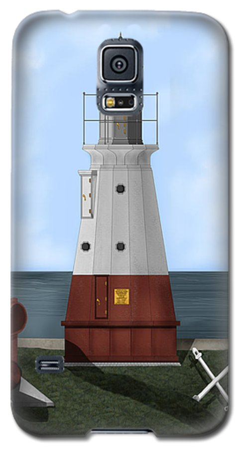 Lighthouse Galaxy S5 Case featuring the painting Vermillion River Lighthouse On Lake Erie by Anne Norskog