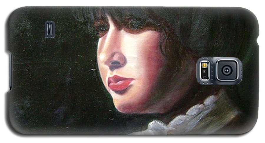 Girl In White Blouse Galaxy S5 Case featuring the painting Victorian Blouse by Toni Berry