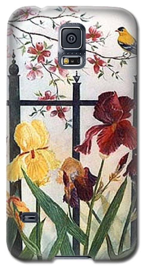 Irises; American Goldfinch; Dogwood Tree Galaxy S5 Case featuring the painting Victorian Garden by Ben Kiger