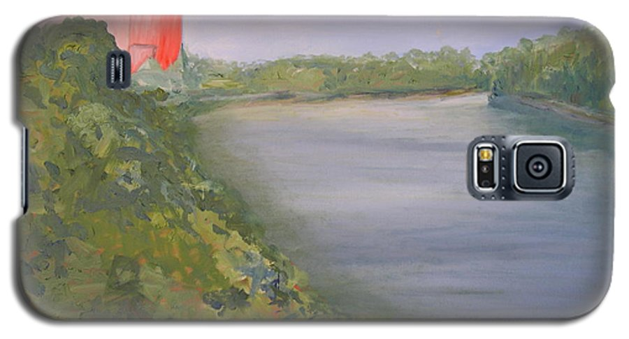 Landscape River Water Nature Galaxy S5 Case featuring the painting View From Edmund Pettus Bridge by Patricia Caldwell