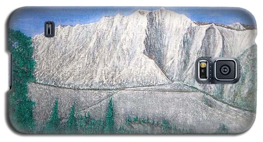 Snow Galaxy S5 Case featuring the painting Viewfrom Spruces by Michael Cuozzo