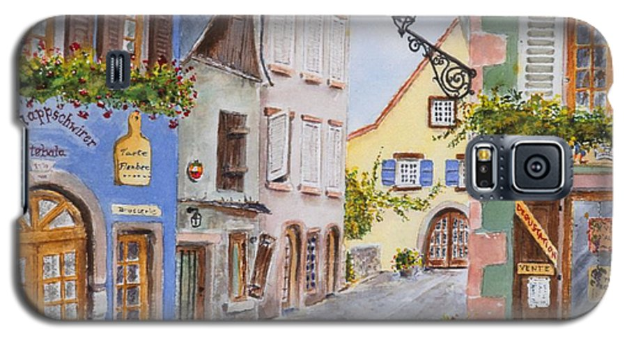 Village Galaxy S5 Case featuring the painting Village In Alsace by Mary Ellen Mueller Legault