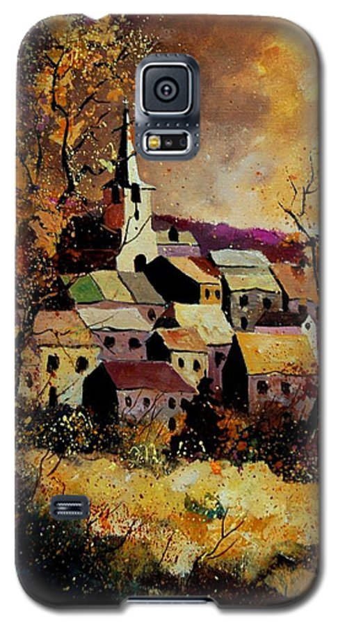 River Galaxy S5 Case featuring the painting Village In Fall by Pol Ledent