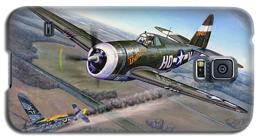 The 352nd Fighter Groups First Ace Shoots Down The German Ace Klaus Mietush On March 8th 1944 Galaxy S5 Case featuring the painting Virgil Meroney Downs Klaus Mietush by Scott Robertson