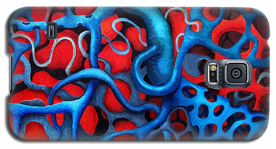 Abstract Galaxy S5 Case featuring the painting Vital Network 2 by Nancy Mueller