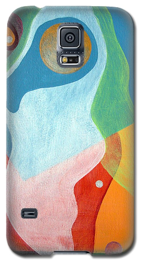 Abstract Galaxy S5 Case featuring the painting Voile by Muriel Dolemieux