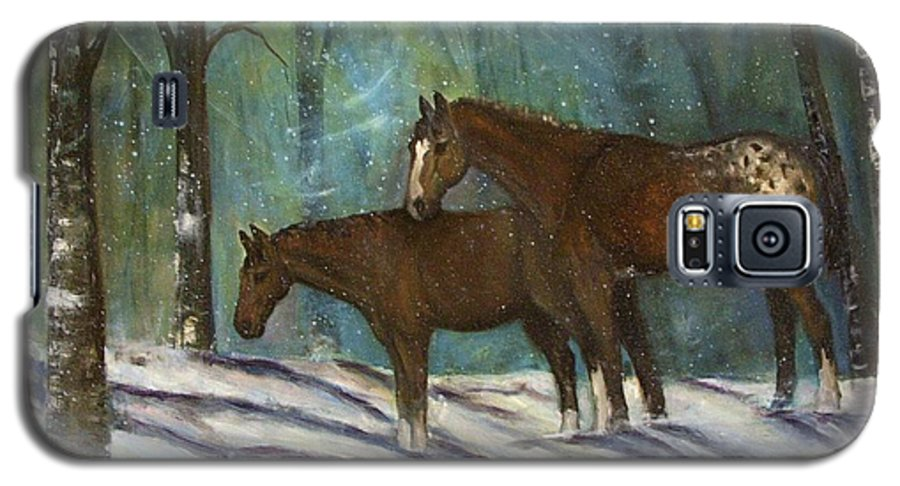 Horses Galaxy S5 Case featuring the painting Waiting For Spring by Darla Joy Johnson