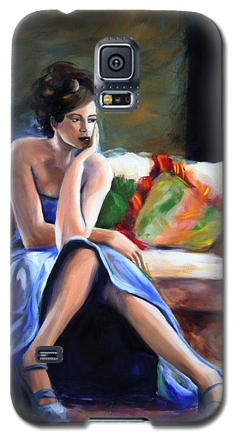 Woman Galaxy S5 Case featuring the painting Waiting by Maryn Crawford