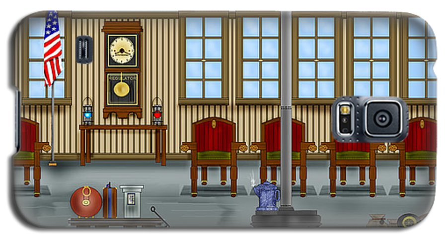 Realism Galaxy S5 Case featuring the painting Waiting Room At The Depot by Anne Norskog