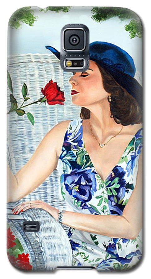 Woman Galaxy S5 Case featuring the painting Wake Up And Smell The Rose by Margaret Fortunato