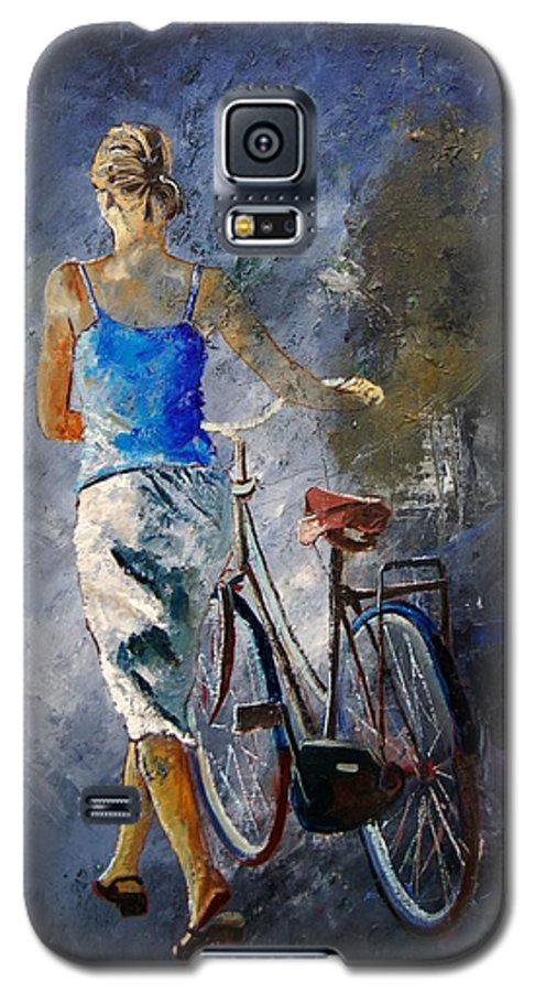 Girl Galaxy S5 Case featuring the painting Waking Aside Her Bike 68 by Pol Ledent