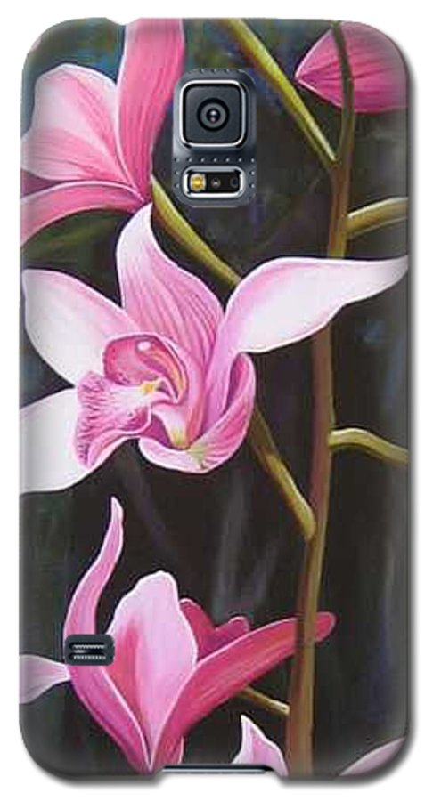 Orchids In Italy Galaxy S5 Case featuring the painting Waking Up In The Sun by Hunter Jay