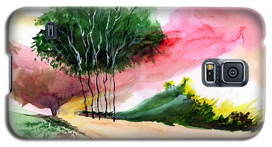 Watercolor Galaxy S5 Case featuring the painting Walk Away by Anil Nene