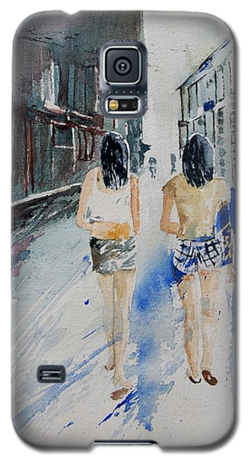 Girl Galaxy S5 Case featuring the painting Walking In The Street by Pol Ledent