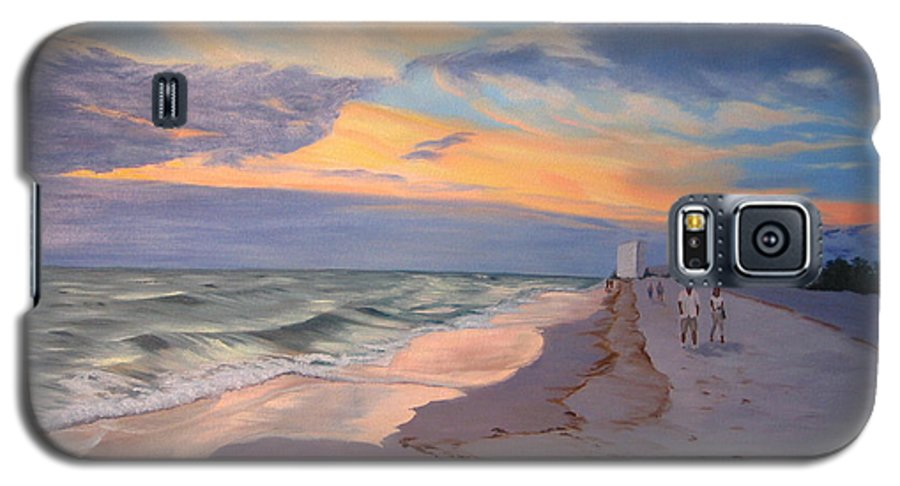 Seascape Galaxy S5 Case featuring the painting Walking On The Beach At Sunset by Lea Novak