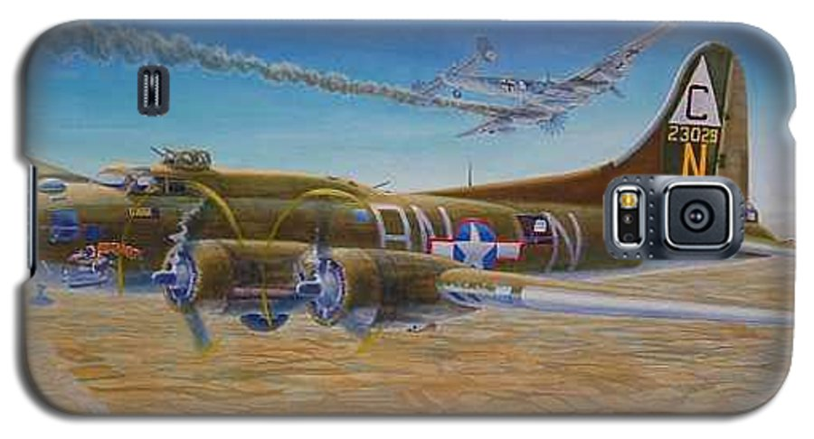 B-17 wallaroo Over Schwienfurt Galaxy S5 Case featuring the painting Wallaroo At Schwienfurt by Scott Robertson