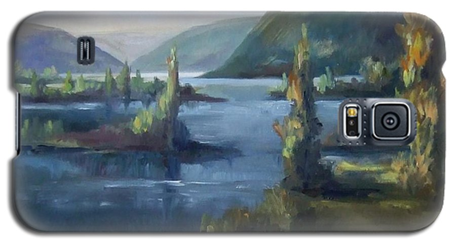 Landscape Water Mountains Trees Fall Sky Galaxy S5 Case featuring the painting Wallula Gap October by Ruth Stromswold