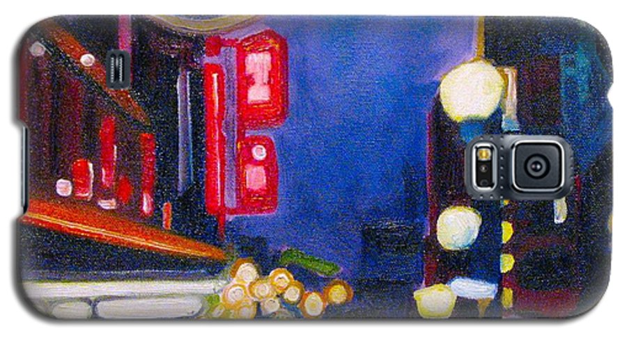 Night Scene Galaxy S5 Case featuring the painting Wandering At Dusk by Patricia Arroyo