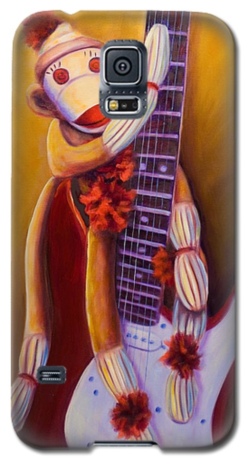 Monkey Galaxy S5 Case featuring the painting Wanna Be A Rocker by Shannon Grissom