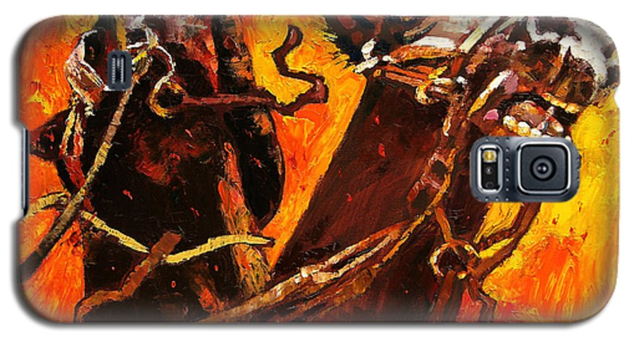 Horses Galaxy S5 Case featuring the painting War Horses by John Lautermilch
