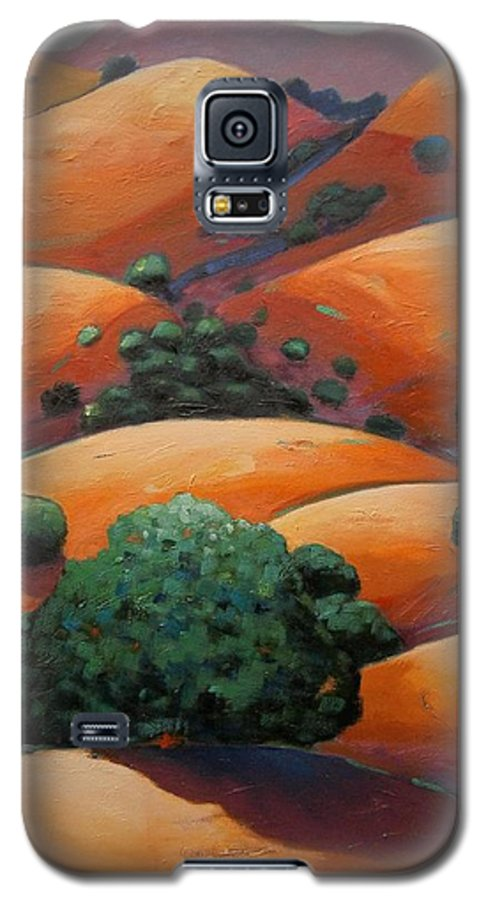 California Landscape Galaxy S5 Case featuring the painting Warm Afternoon Light On Ca Hillside by Gary Coleman