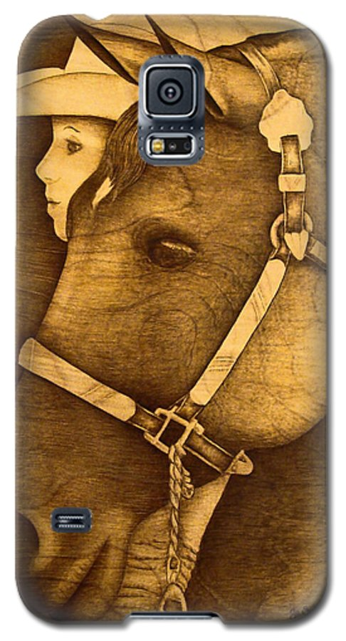 Pyrography;wood Burning; Horse; Western; Halter;cowboy; Hat; Rodeo; Galaxy S5 Case featuring the pyrography Watching The Competition by Jo Schwartz