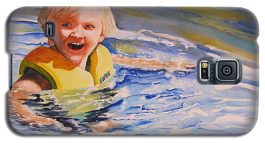 Swimming Galaxy S5 Case featuring the painting Water Baby by Karen Stark