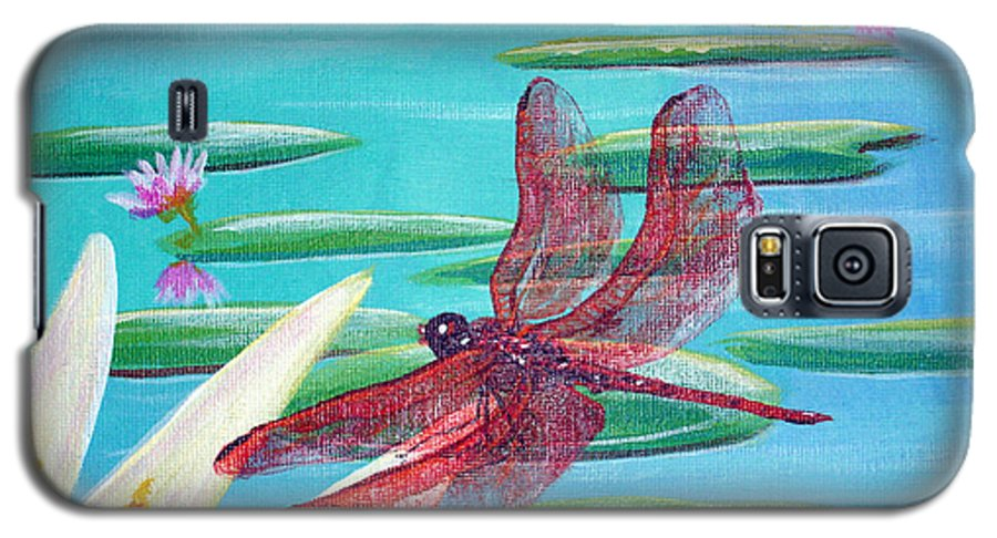 Water Galaxy S5 Case featuring the painting Water Lilies And Dragonfly by Susan Kubes