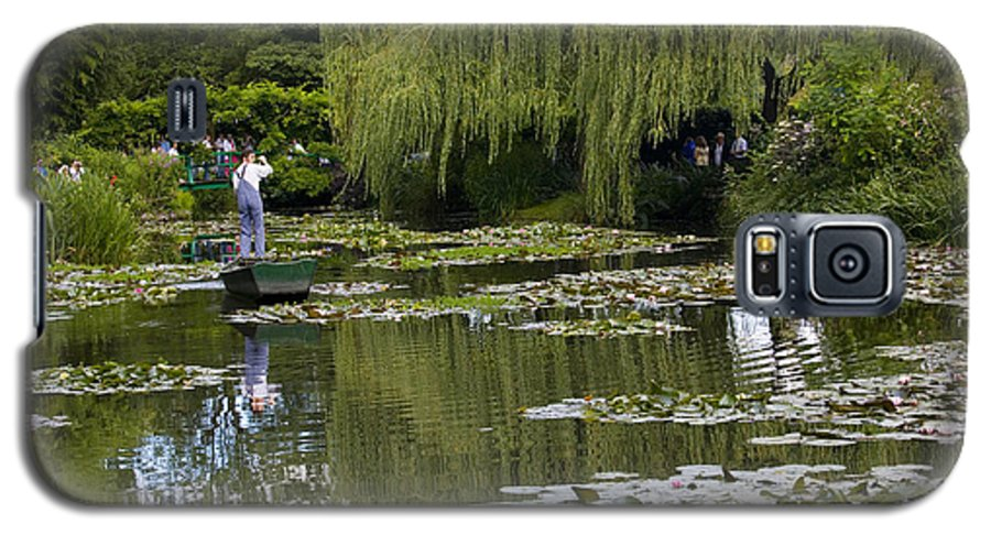 Monet Gardens Giverny France Water Lily Punt Boat Water Willows Galaxy S5 Case featuring the photograph Water Lily Garden Of Monet In Giverny by Sheila Smart Fine Art Photography