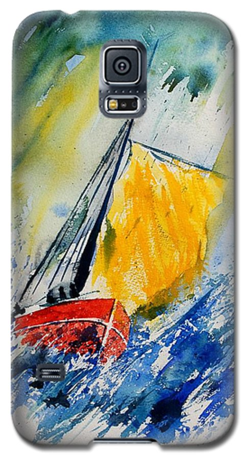 Sea Waves Ocean Boat Sailing Galaxy S5 Case featuring the painting Watercolor 280308 by Pol Ledent