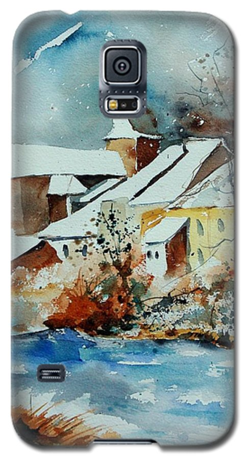 Landscape Galaxy S5 Case featuring the painting Watercolor Chassepierre by Pol Ledent