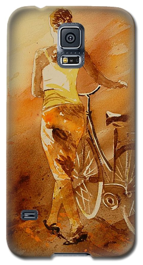 Figurative Galaxy S5 Case featuring the painting Watercolor With My Bike by Pol Ledent