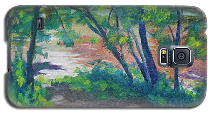 Landscape Galaxy S5 Case featuring the painting Watercress Beach On The Current River  by Jan Bennicoff