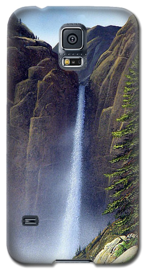 Wilderness Galaxy S5 Case featuring the painting Waterfall by Frank Wilson