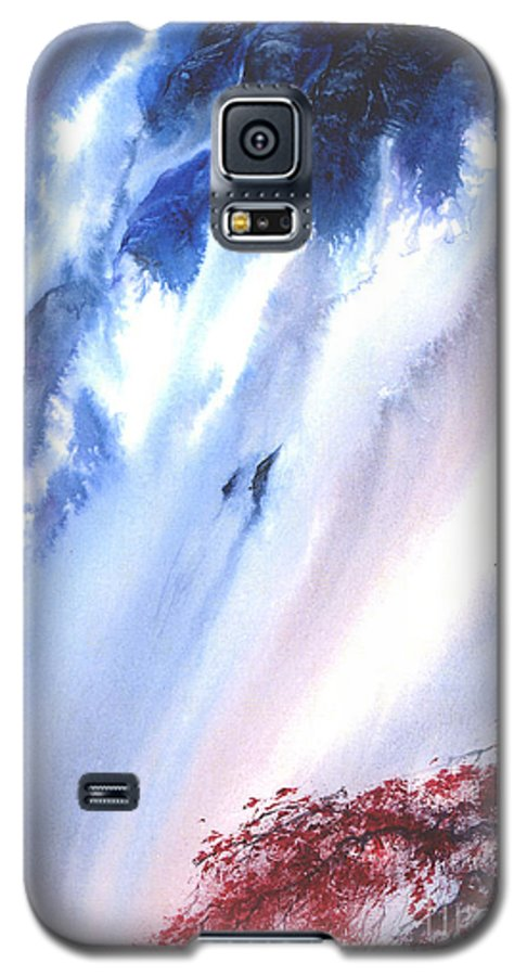 A Waterfall- A Watercolor Painting Galaxy S5 Case featuring the painting Waterfall by Mui-Joo Wee