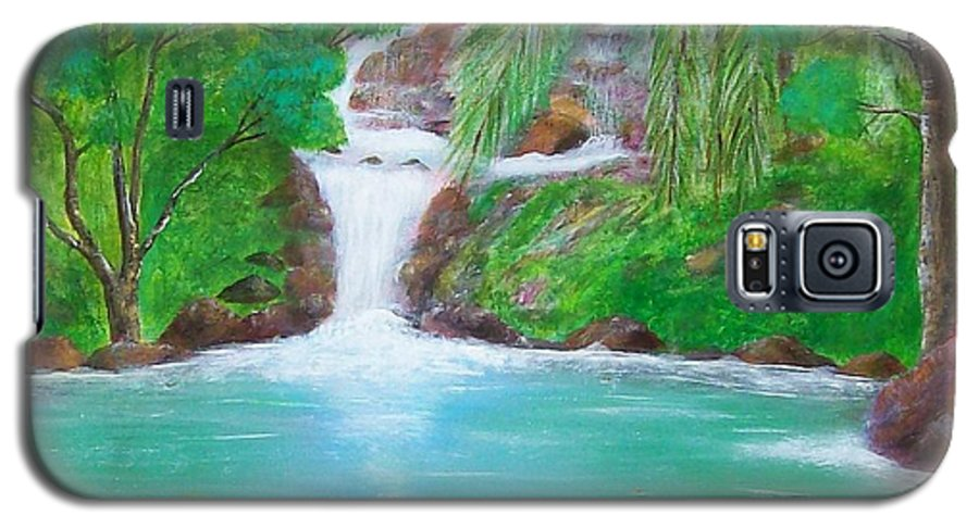 Waterfall Galaxy S5 Case featuring the painting Waterfall by Tony Rodriguez