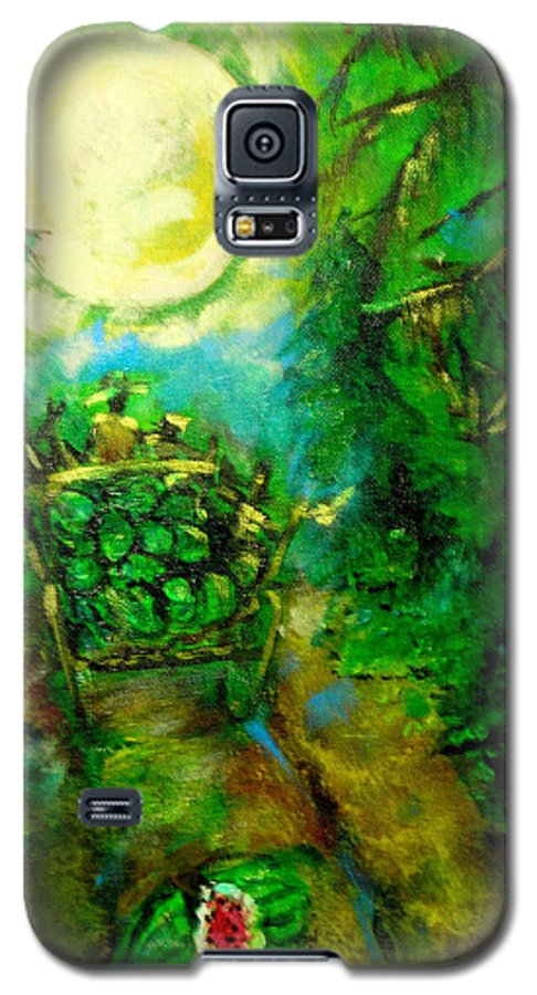 Watermelon Wagon Moon Galaxy S5 Case featuring the painting Watermelon Wagon Moon by Seth Weaver