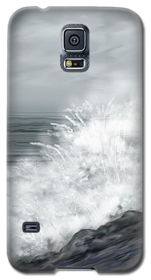 Seascape Galaxy S5 Case featuring the painting Waves Crashing The Rocks In Ireland by Anne Norskog