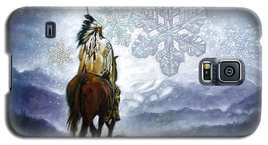 American Indian Galaxy S5 Case featuring the painting We Vanish Like The Snow Flake by John Lautermilch