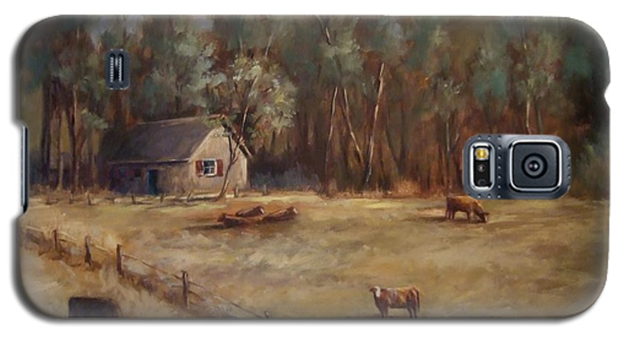Landscape Cattle Hills Mountains Trees Sky Fence House Galaxy S5 Case featuring the painting Weathered Shutters by Ruth Stromswold