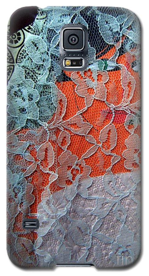 Portrait Galaxy S5 Case featuring the mixed media Wedding Mask by Debra Bretton Robinson