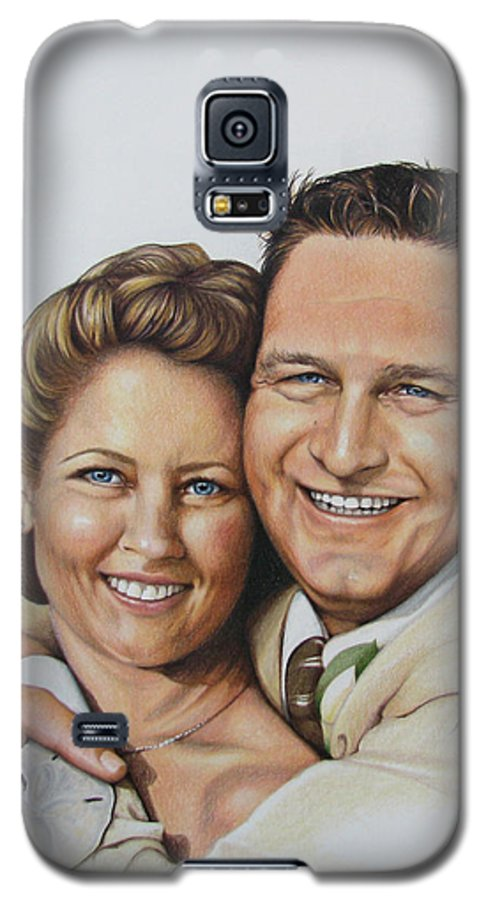 Wedding Portraits Galaxy S5 Case featuring the painting Wedding Portrait Jeremy N Katie by Joan Garcia