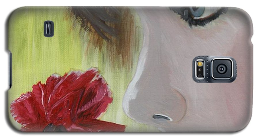 Romance Galaxy S5 Case featuring the painting Wedding Rose by J Bauer