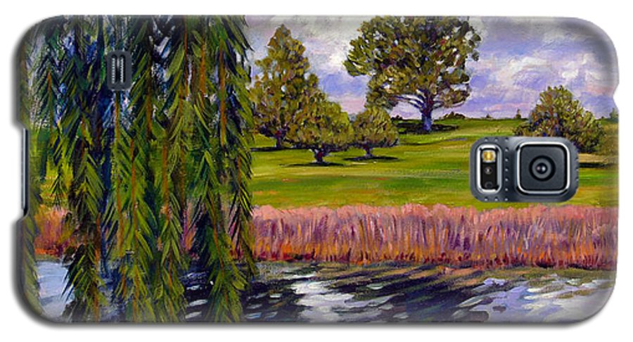 Landscape Galaxy S5 Case featuring the painting Weeping Willow - Brush Colorado by John Lautermilch