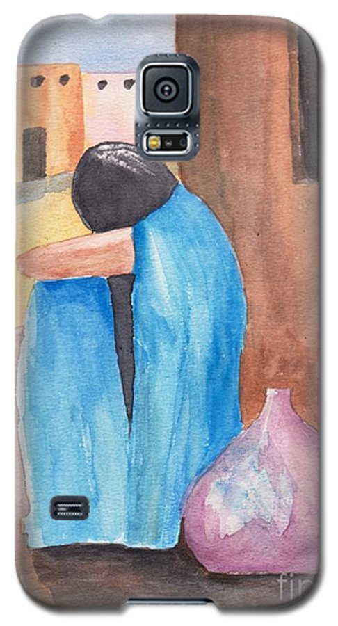 Southwest Galaxy S5 Case featuring the painting Weeping Woman by Susan Kubes