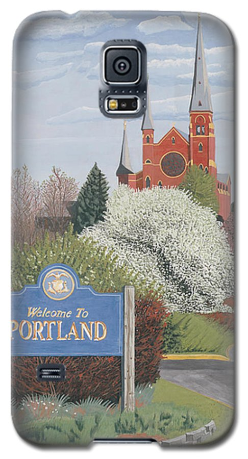 Church Galaxy S5 Case featuring the painting Welcome To Portland by Dominic White