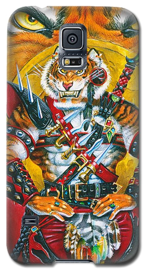 Fantasy Galaxy S5 Case featuring the painting Werecat Warrior by Melissa A Benson