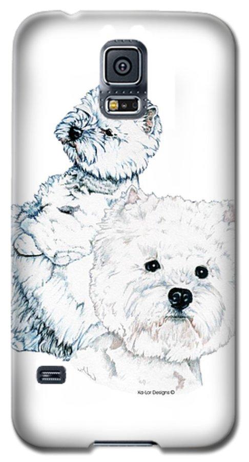 West Highland White Terrier Galaxy S5 Case featuring the drawing West Highland White Terriers by Kathleen Sepulveda