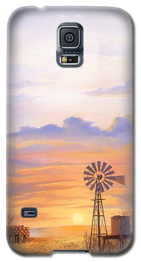 Windmill Galaxy S5 Case featuring the painting West Texas Sundown by Howard Dubois